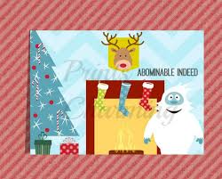 abominable snowman rudolph funny christmas card printable