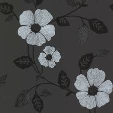 zync black modern floral wallpaper contemporary wallpaper by
