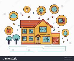 House Technology Smart House Technology System Line Flat Stock Vector 331193162