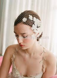 bridal headwear wholesale inspired white flower beaded mesh veil wedding headpiece
