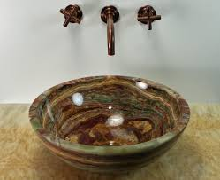 Onyx Countertops Bathroom Soluna Multi Brown Round Onyx Basin Flat Rim Sinks Gallery
