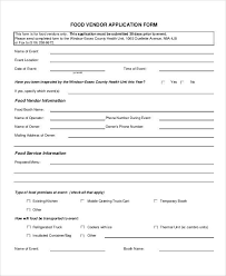 vendor application form samples 10 free documents in word