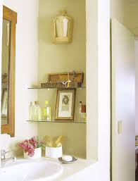 small bathroom area with yellow wall colors feat trendy storage
