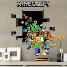 wall decal wall decals minecraft thousands pictures of wall stickers muraux minecraft 3d 2