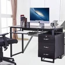 Office Desk Tray Merax Large Glass Computer Desk Office Desk With Keyboard Tray And