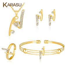 rhinestone necklace sets wholesale images Karasu letter quot n quot pendant shiny rhinestones necklace earrings ring jpg