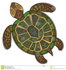 decorative ornamental turtle with sign colorful ethnic pattern