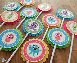 cupcake toppers cute monster bash baby shower or kids birthday