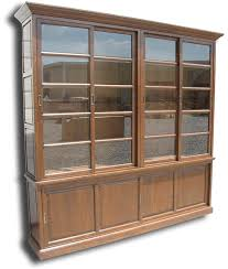 Wooden Cabinet With Glass Doors Furniture Large Brown Wooden Bookshelves With Glass Doors And