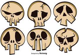 cartoon halloween picture vector set of cartoon skulls for halloween download free vector