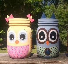 Owl Home Decor Hand Painted Owl Mason Jar Owl Storage Owl Nursery Decor Owl
