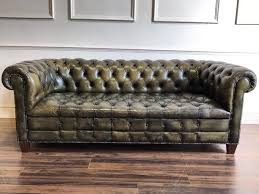vintage chesterfield sofa a midc vintage chesterfield sofa in dyed green