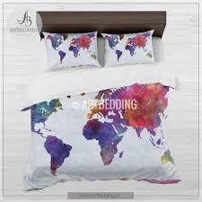 watercolor world map bedding boho chic world map duvet cover set
