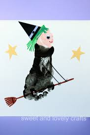sweet and lovely crafts footprint flying witch