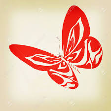 abstract butterfly design 3d illustration vintage style stock