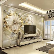 large 3d wall art promotion shop for promotional large 3d wall art 3d european style marble diamond jewelry flower wallpaper mural high quality non woven large wall painting living room wall art