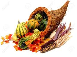 thanksgiving or harvest cornucopia on a white background stock