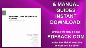 bmw mini one workshop manual video dailymotion