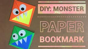 diy monster paper bookmark easy craft for kids youtube