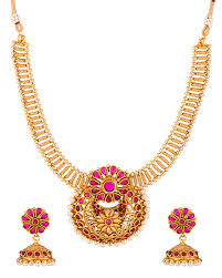 stone setting gold necklace images Buy red stone studded necklace set in gold tone with pearl beads jpg