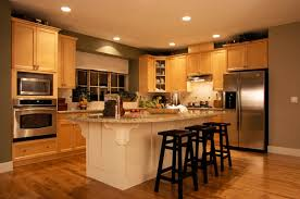 Two Toned Kitchen Cabinets by Kitchen Dark Wood Bar Stools On Laminate Wood Flooring And Two