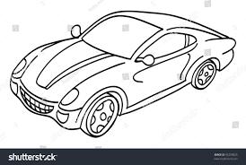cartoon sports car cartoon vector outline illustration sports car stock vector