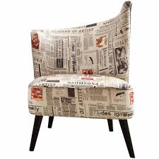 elegant accent chair with flaired back newspaper fabric
