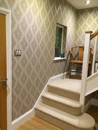 beautiful hallway using our kelly hoppen ikat wallpaper in soft
