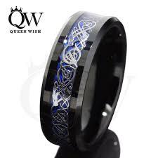 Mens Wedding Rings Tungsten queenwish 8mm black blue tungsten carbide rings sliver black 18k