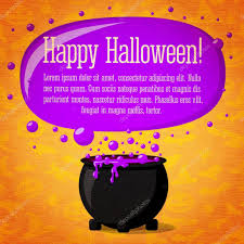 halloween witch pot happy halloween cute retro banner on craft paper texture with