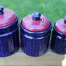 purple canisters for the kitchen shop blue canister set on wanelo