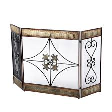 impressive three panel wrought iron fireplace screen design with