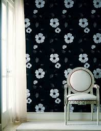 Poppy Modern Floral Wallpaper In Black By Brewster Home Fashions - Poppy wallpaper home interior