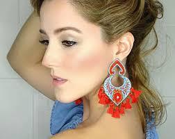 big ear rings tassel earring threader earring fringe earrings white