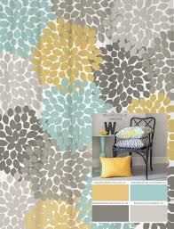 Curtain Colors Inspiration Dahlia Floral Shower Curtain In Yellow Blues And Grays Floral
