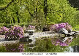 waterfall montreals japanese botanical gardens stock photo