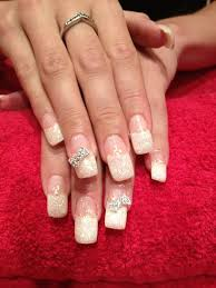 acrylic nails white glitter french manicure white glitter tips