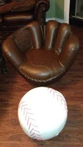 baseball chair and ottoman set custom baseball glove swivel chair valley leather this is braves