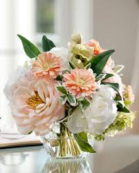 Faux Floral Centerpieces by Soft And Soothing Peaches U0026 Cream Silk Flower Arrangement At Petals