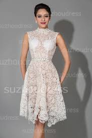 occasion dresses for weddings knee length white modest high collar lace wedding dresses
