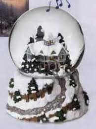 kinkade white musical collectible snowglobe