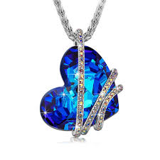 blue zircon jewelry necklace images Dinifan electroplated alloy blue zircon heart pendant necklace jpg