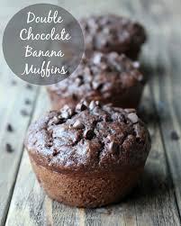 healthy double chocolate banana muffin