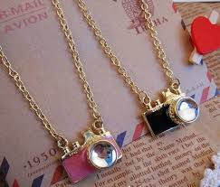 cute necklace images Shipping retro pink and black camera necklace cute necklace 58cm jpg