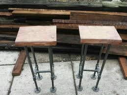 Modern Rustic Decor Reclaimed Wood Bar Stool With Industrial Pipe Legs Rustic