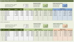 debt reduction calculator excel templates template weekly schedule