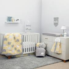 Grey And Yellow Crib Bedding Nojo The Dreamer Collection Elephant Yellow Grey 8 Crib