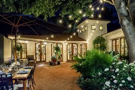 Italian String Lighting by Pool Hardscape Patio Mediterranean With String Lighting