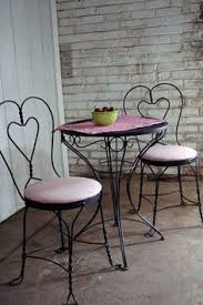 ice cream parlor table and chairs set refinishing vintage iron sweetheart ice cream parlor chairs via