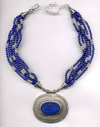 charm necklace with beads images Pendant necklace of royal blue lapis with bali silver beads jpg